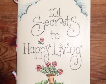 Hand Sewn Book Card 101 Secrets To A Happy Life Vintage Paper Envelope PS You Are Loved Hand Sewn Book Card Vintage Paper Envelope Happy