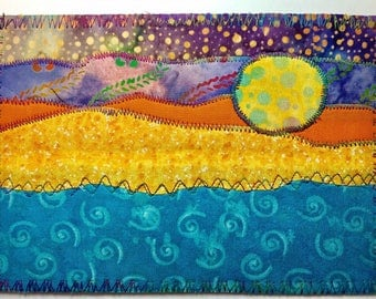 Ocean Moonrise /landscape fabric postcard