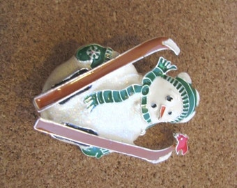 Enamel Snowman Holiday Brooch Holiday Pin with Skis