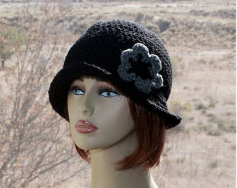 Womens Hat Flapper Hat  Cloche  Style Hat,  Crochet Womens Brim Hat,  Black  Bucket  Hat, Roll Up Brim,  Winter  Hat, Womens Accessories
