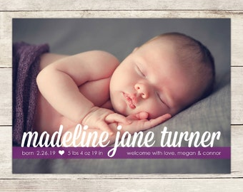 Baby Boy or Girl Personalized Birth Announcement Card, Printable Newborn Announcement Card, Gender Neutral New Baby Announcement Photo Card