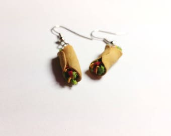 Burrito earrings. Hand sculpted food jewelry