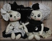 RESERVED SET Little Yin & Yang  Art doll Primitive folk art cute Fantasy button eye Gothic Gift Handmade OOAK spooky Collectible Dark Light