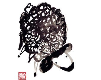 Year of the Sheep, Ram, Goat, Chinese New Year, Shengxiao, Original Zen Sumi ink Painting, zen decor, japan, kids room, baby shower present
