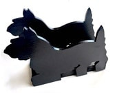 Scottish Terrier Napkin Holder, Scottish Terrier Mail Holder, Black Wood Scotty Dog,Vintage Black Scotty Napkin Holder,Scottie Napkin Holder