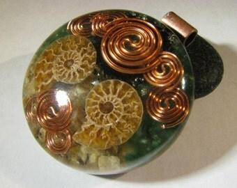 Large Ammonite Orgone Pendant - Fuchsite and Moonstone
