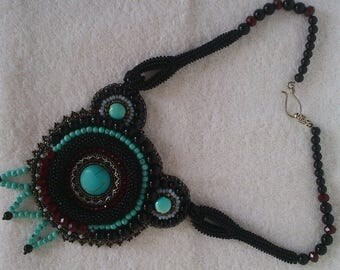 Bead Crochet Nacklace, Embellishment With Turquoise Stone