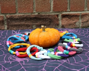 Upcycled Party favor bracelets, treats, treat bag stuffers Adult and kids sizes Teal pumpkin project