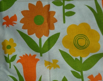 Vintage Large Floral Fabric, One Way Pattern, Heavier Weight, 5 yards plus 17 inches