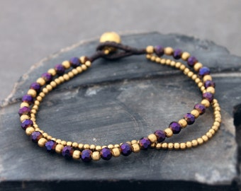Deep Purple Crystal Faceted Brass Double Strand Bracelet