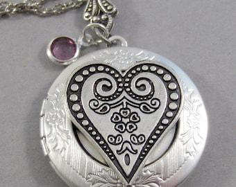 Lovie,Heart Locket,Heart Necklace,Birthstone Locket,Birthstone Necklace,Birthstone,Floral Locket,silver Locket,Valleygirldesign