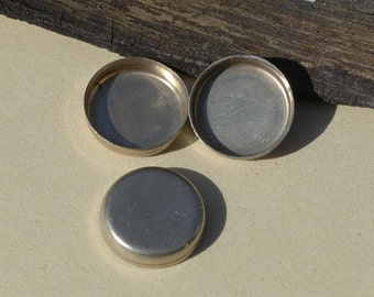 Nickel Silver Bezel Cups 26G 14.8mm OD 3.3mm tall for Enameling Soldering Stamping Jewelry Making Supplies, Variety of Metals - 6 Pieces