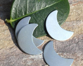 Copper Moon Shape Blanks for Enameling Stamping Texturing Soldering Variety of Metals - 6 pieces