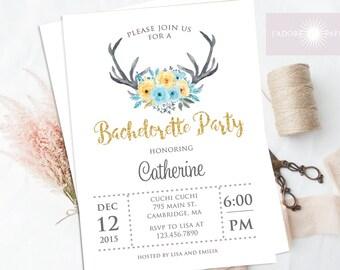 Antler Invite, Bachelorette Invitation, Printable, Boho Bachelorette, Hens Party Card,Engagement Announcement, Blue, Yellow, jadorepaperie