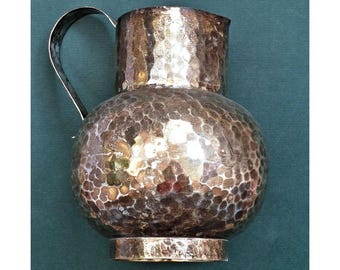 Vintage Hammered-Brass Pitcher Silverplated Ball-shaped Graceful Handle 1940s