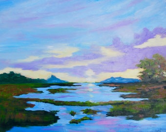 24 x 30 Modern Impressionist Original Oil Marsh Sunset Kiawah Island Landscape by Rebecca Croft