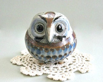 Collectible Owl Figurine Tonala Ceramic Owl Decor Mexican Folk Art Mexican Pottery Owl Retro Owl Hand Painted Owl Figure Cute Owl Blue Brown