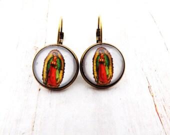 Virgin Mary Lever Back Earrings