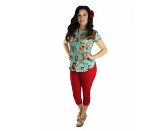 Rockabilly Frida Kahlo Teal Top With Snaps XS-4XL