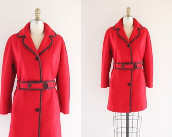 c1960s Red WoolTrench Coat Sz Sz S/M