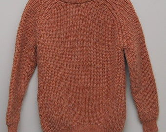 Vintage light brown wool knit sweater/ Vint brown knit sweater/ highland chunky