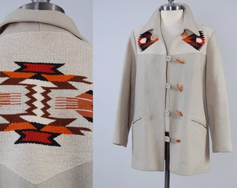 Vintage 70s PIONEER WEAR southwestern blanket coat / Chimayo style jacket / Earth tone wool