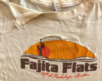 Vintage 80s Fajita Flats distressed t shirt / paper thin and soft / Austin TEXAS local spot / vintage texas tee
