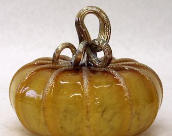 Hand Blown Glass Art Sculpture  Pumpkin Oneil 7236 gold