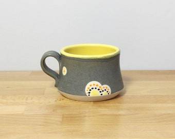 SALE! Handmade Pottery Teacup, Ceramic Teacup, Small Stoneware Mug, Modern Coffee Cup, Teacup, Modern Kitchen Drinkware in Yellow and Gray