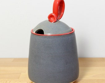 SALE!  Ceramic Honey Pot, Stoneware Jam Jar, Lidded Jar, Modern Kitchenware, Honey Jar in Gray and Red by Nstarstudio