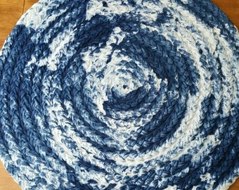 "30"" shibori Indigo blue braided cotton rug select a size"