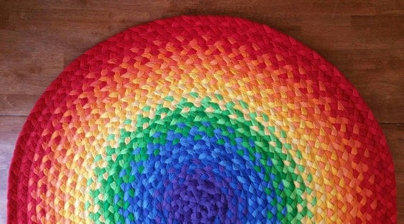 """SPRING SALE 15% OFF 48""""  Rainbow Rug made from braided recycled t shirt"""