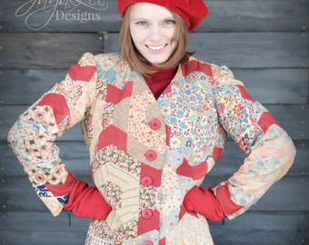 Patchwork Quilt Coat Red Bathrobe