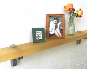 Floating Champagne Translucent Resin Shelf, Modern Floating Shelf with Shelf Supports