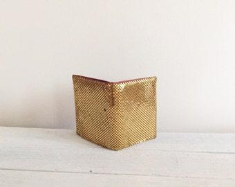 Vintage gold mesh wallet, billfold, credit card holder, Art Deco,