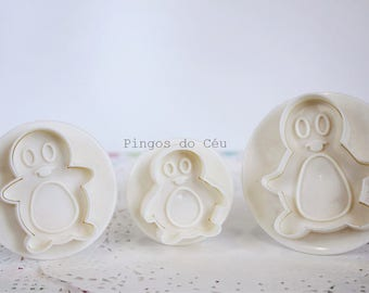 3 pcs - Penguin Plunger - Cake Plunger Cutter - Biscuit - Cookie Cutter Set - Cake Design Tools - Ready to Ship