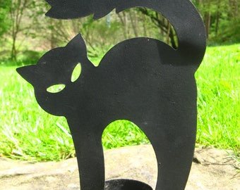CAT CANDLE HOLDER - Metal 6.5 Inches Tall Stylized Black Feline for Tea Lights, Possibly Also Votive Candles, Cats, Felines, Halloween Kitty
