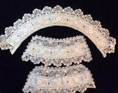 Exceptionally Fine Antique Lace Collar and Cuff Panels - Ivory in color - amazing handwork