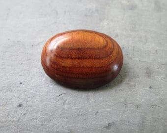 Vintage Wooden Brooch - Costume Jewelry Pin - Stained Varnished Wood
