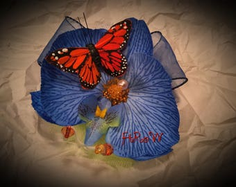 Blue Orchid Fascinator with Monarch Butterfly