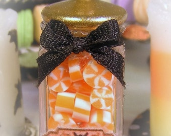 12th Scale Dolls House Spooky Jar of Halloween Candy Corn