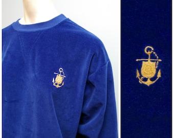 Vintage Royal Blue Velour Velvet Sweatshirt Sweater with Gold Anchor - Nautical Sailor Top Shirt - Size Large - Kitsch Beach Boho