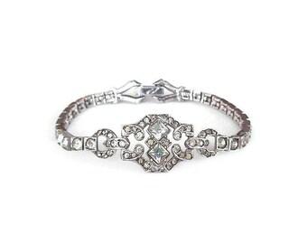Otis Sterling Rhinestone Bracelet 1940s Vintage - Art Deco Style, Wedding Jewelry, Bride Bridal, Diamante Rhinestone, Antique Jewelry