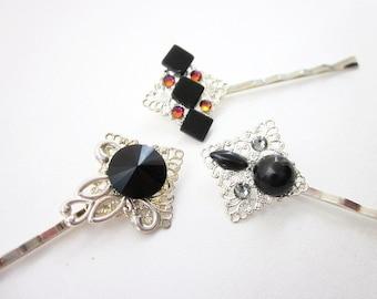 Unique Hair Pins -- Black Hairpins -- Black & Silver Hair Pins -- Black Pin Embellishments -- Gemstone Hair Pins -- Black Gem Hair Accessory