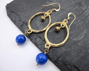 Blue & Gold Hoops -- Gold Oval Bead Earrings -- Blue Bead Oval Earrings -- Dark Blue Bead Dangles -- Blue Jade Dangle Earrings -- Jade Drops