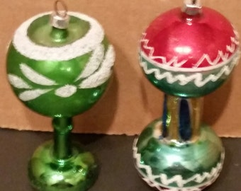 vintage  Christmas blown glass ornaments 1930's hand painted made in czechoslovakia set of 2