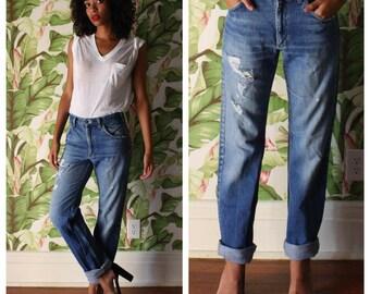 Vintage Denim / Lee Riders 101Z Jeans / Boyfriend Jeans / Western Cowgirl Cowboy Jeans / Dark Blue Denim with Holes / Workwear Unisex Denim