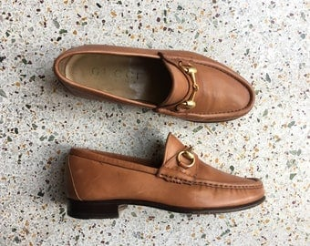 Size 7 Gucci Loafers / Brown Leather Designer Brogues / On Trend / Men's Size 5D