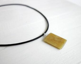 Leather necklace large stone pendant black cord necklace jade stone unisex men women