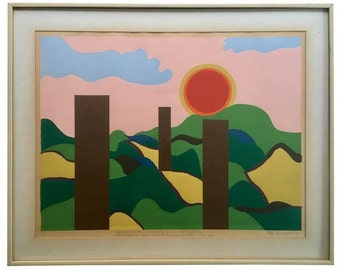70's Mod Abstract Landscape Painting